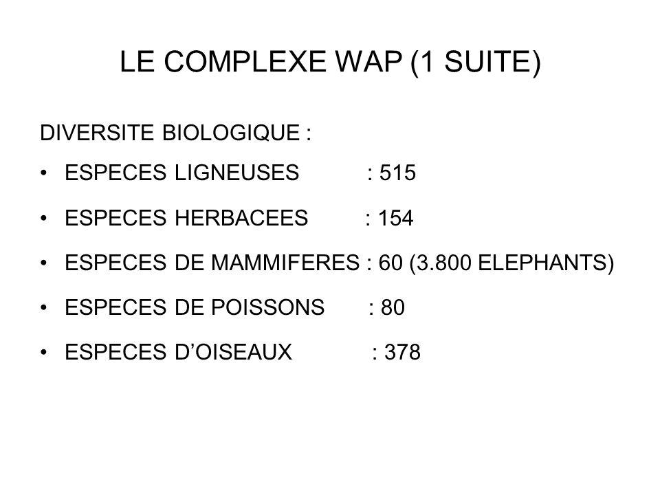 LE COMPLEXE WAP (1 SUITE) DIVERSITE BIOLOGIQUE : ESPECES LIGNEUSES : 515 ESPECES HERBACEES : 154 ESPECES DE MAMMIFERES : 60 (3.800 ELEPHANTS) ESPECES