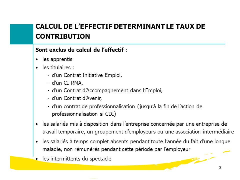 3 Sont exclus du calcul de leffectif : les apprentis les titulaires : -dun Contrat Initiative Emploi, -dun CI-RMA, -dun Contrat dAccompagnement dans l