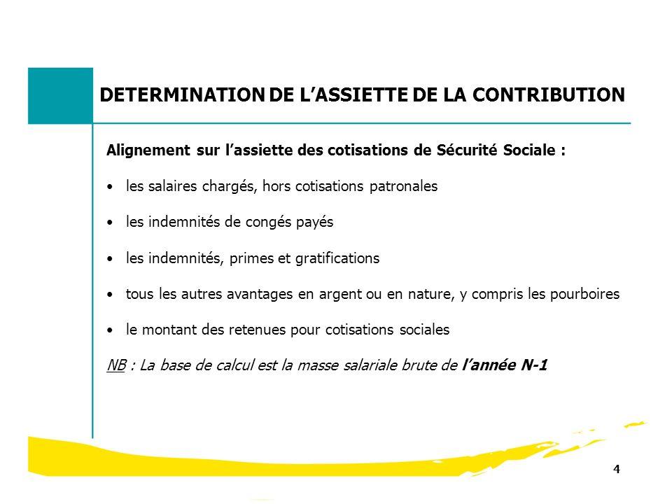 4 DETERMINATION DE LASSIETTE DE LA CONTRIBUTION Alignement sur lassiette des cotisations de Sécurité Sociale : les salaires chargés, hors cotisations