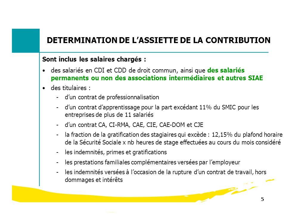 5 DETERMINATION DE LASSIETTE DE LA CONTRIBUTION Sont inclus les salaires chargés : des salariés en CDI et CDD de droit commun, ainsi que des salariés