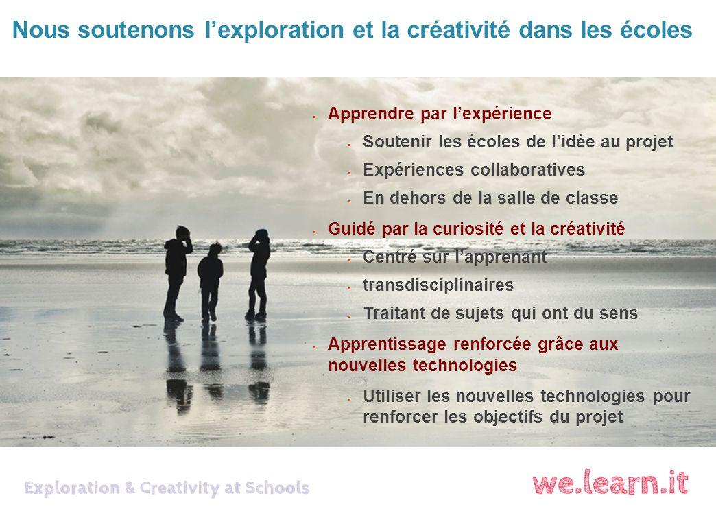 Nous soutenons lexploration et la créativité dans les écoles Apprendre par lexpérience Soutenir les écoles de lidée au projet Expériences collaboratives En dehors de la salle de classe Guidé par la curiosité et la créativité Centré sur lapprenant transdisciplinaires Traitant de sujets qui ont du sens Apprentissage renforcée grâce aux nouvelles technologies Utiliser les nouvelles technologies pour renforcer les objectifs du projet