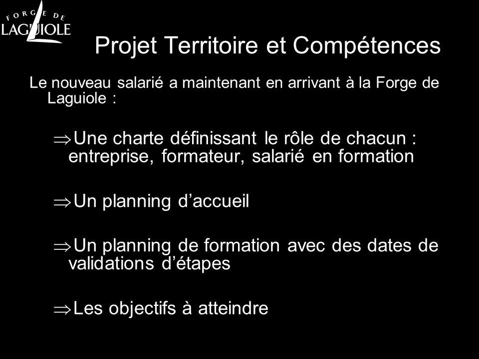 Projet Territoire et Compétences Le nouveau salarié a maintenant en arrivant à la Forge de Laguiole : Une charte définissant le rôle de chacun : entre