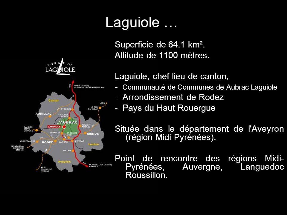 Laguiole … Superficie de 64.1 km². Altitude de 1100 mètres. Laguiole, chef lieu de canton, - Communauté de Communes de Aubrac Laguiole - Arrondissemen