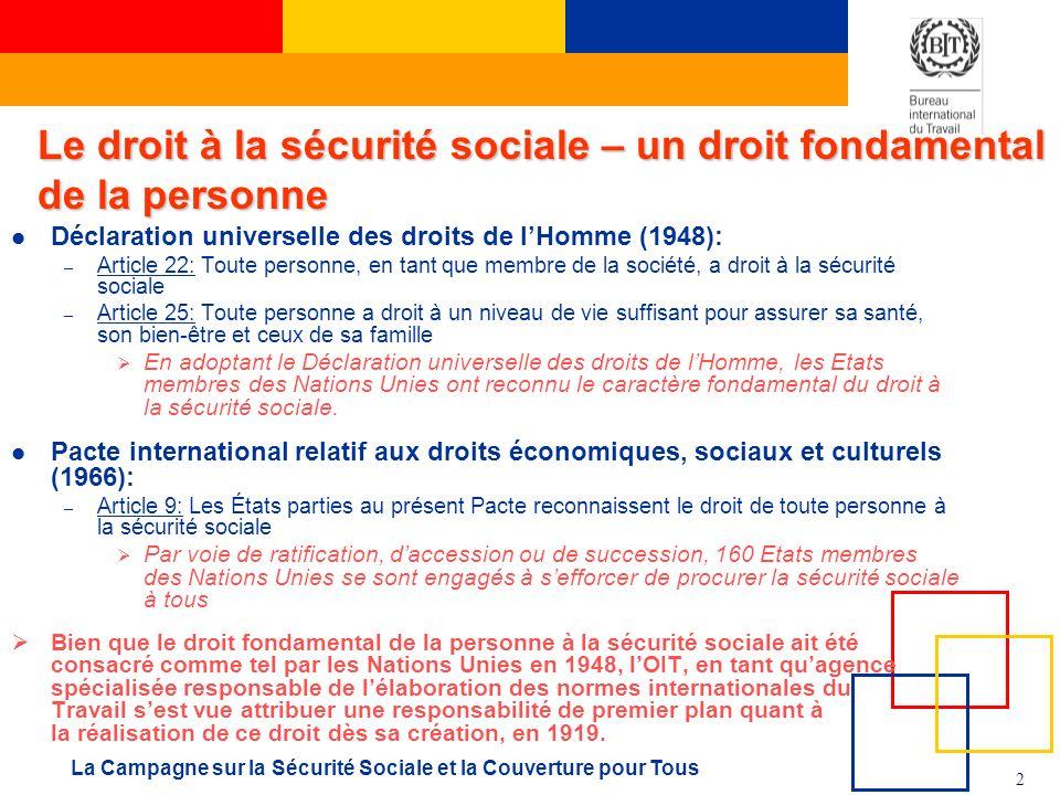 2 La Campagne sur la Sécurité Sociale et la Couverture pour Tous Déclaration universelle des droits de lHomme (1948): – Article 22: Toute personne, en