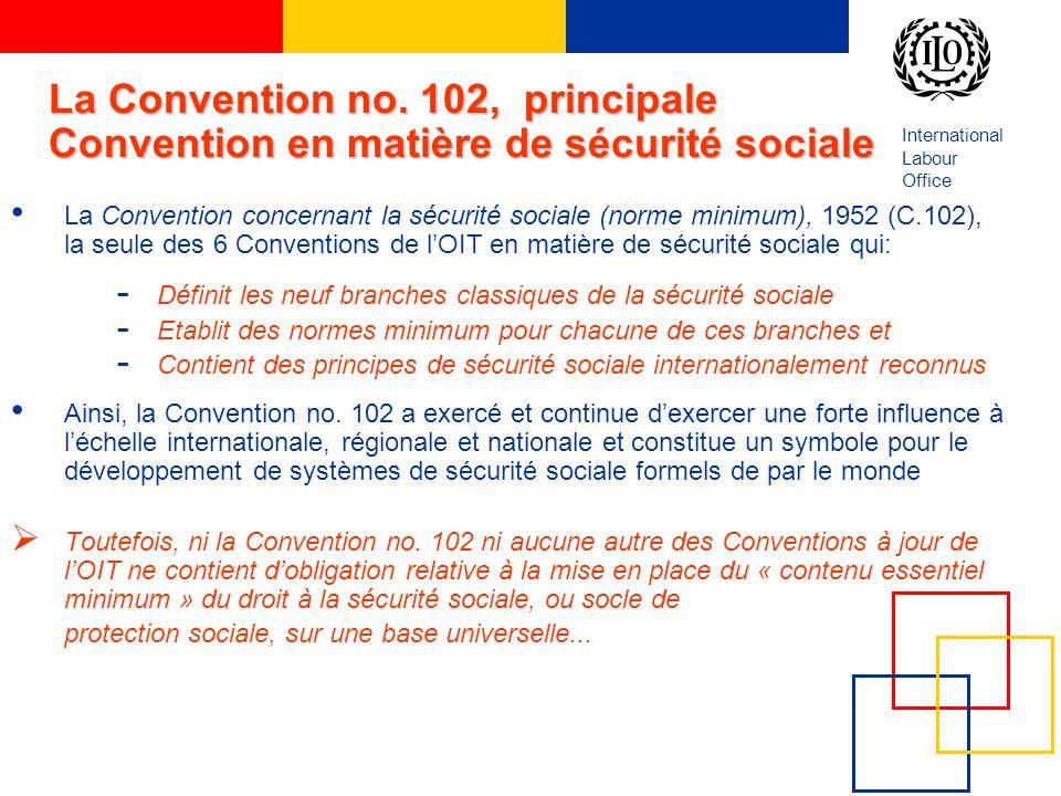 International Labour Office La Convention no. 102, principale Convention en matière de sécurité sociale La Convention concernant la sécurité sociale (