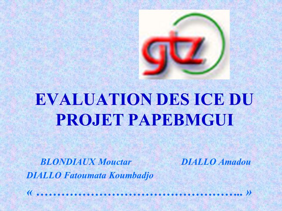 EVALUATION DES ICE DU PROJET PAPEBMGUI BLONDIAUX MouctarDIALLO Amadou DIALLO Fatoumata Koumbadjo « ………………………………………….. »
