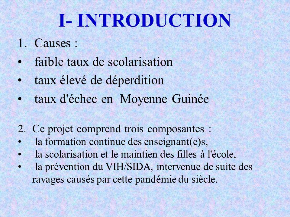 I- INTRODUCTION 1.Causes : faible taux de scolarisation taux élevé de déperdition taux d'échec en Moyenne Guinée 2.Ce projet comprend trois composante