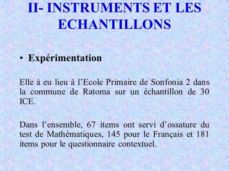 II- INSTRUMENTS ET LES ECHANTILLONS Analyse et Interprétation des données de lexpérimentation 55 items en mathématiques et 145 en Français se sont révélés pertinents.