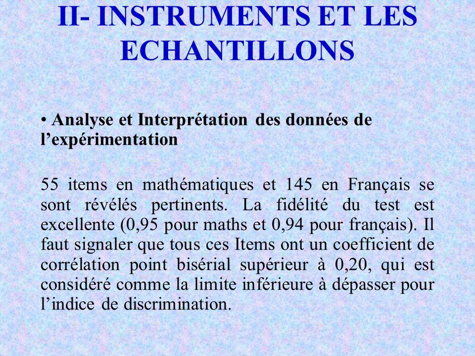 II- INSTRUMENTS ET LES ECHANTILLONS Analyse et Interprétation des données de lexpérimentation 55 items en mathématiques et 145 en Français se sont rév