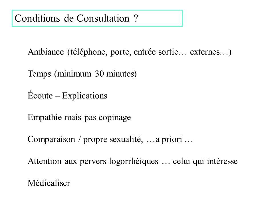 Conditions de Consultation ? Ambiance (téléphone, porte, entrée sortie… externes…) Temps (minimum 30 minutes) Écoute – Explications Empathie mais pas