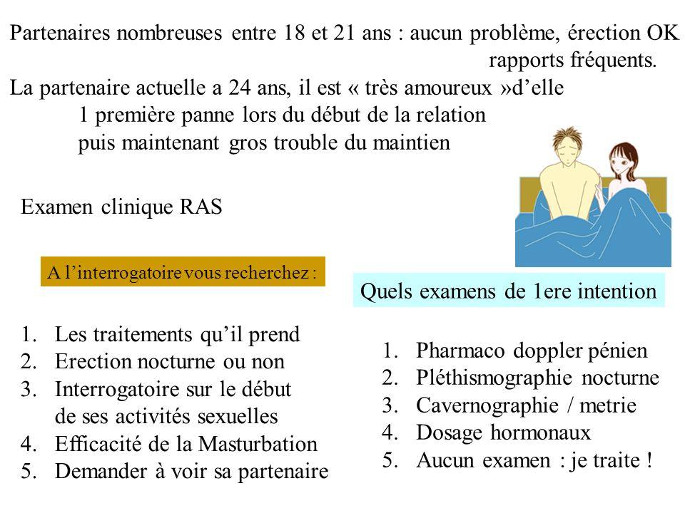Quels examens de 1ere intention 1.Pharmaco doppler pénien 2.Pléthismographie nocturne 3.Cavernographie / metrie 4.Dosage hormonaux 5.Aucun examen : je traite .
