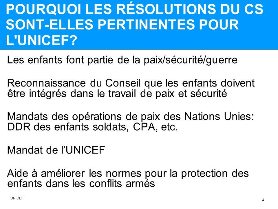 POURQUOI LES RÉSOLUTIONS DU CS SONT-ELLES PERTINENTES POUR L UNICEF.