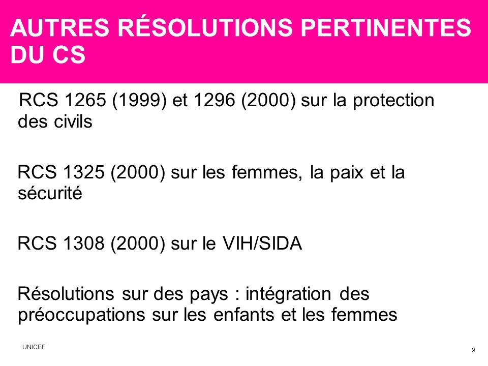 AUTRES RÉSOLUTIONS PERTINENTES DU CS RCS 1265 (1999) et 1296 (2000) sur la protection des civils RCS 1325 (2000) sur les femmes, la paix et la sécurité RCS 1308 (2000) sur le VIH/SIDA Résolutions sur des pays : intégration des préoccupations sur les enfants et les femmes 9 UNICEF