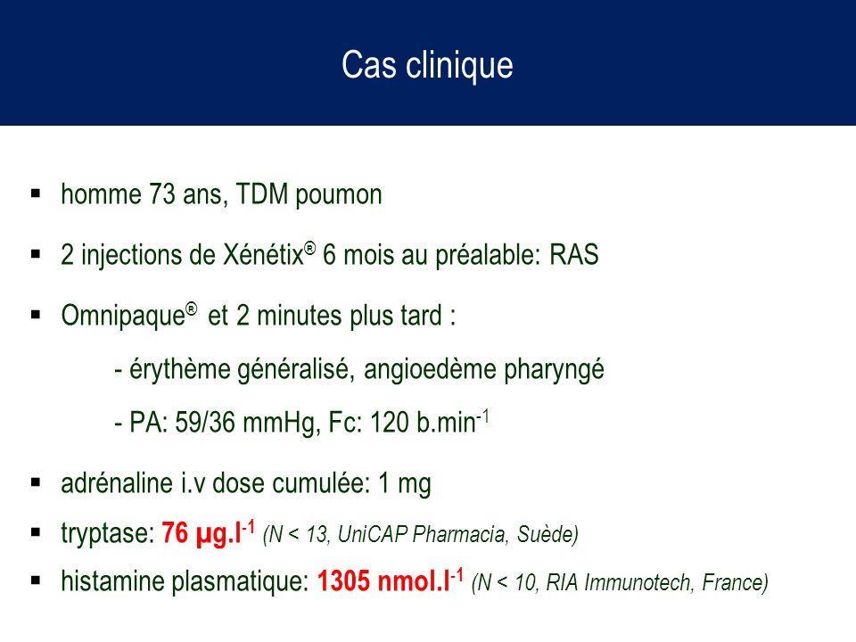 Cas clinique homme 73 ans, TDM poumon 2 injections de Xénétix ® 6 mois au préalable: RAS Omnipaque ® et 2 minutes plus tard : - érythème généralisé, a