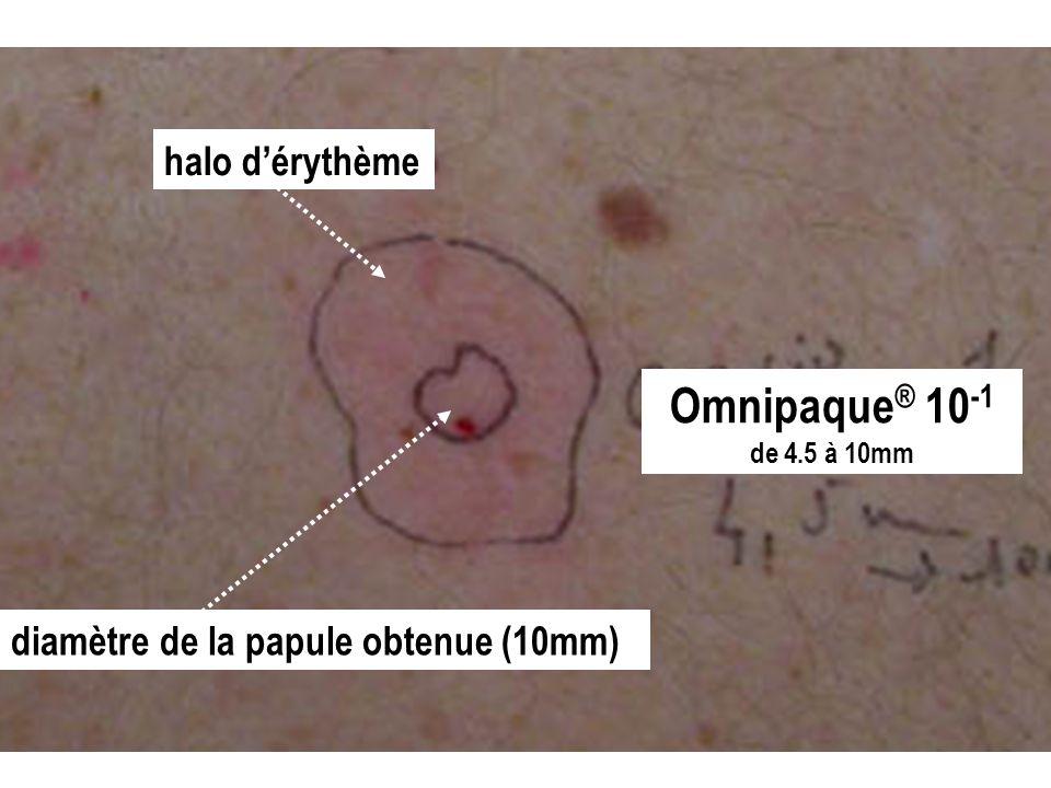 Omnipaque ® 10 -1 de 4.5 à 10mm diamètre de la papule obtenue (10mm) halo dérythème