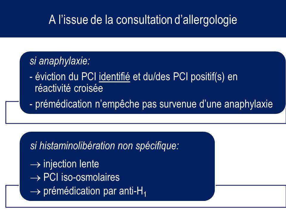 A lissue de la consultation dallergologie si anaphylaxie: - éviction du PCI identifié et du/des PCI positif(s) en réactivité croisée - prémédication n