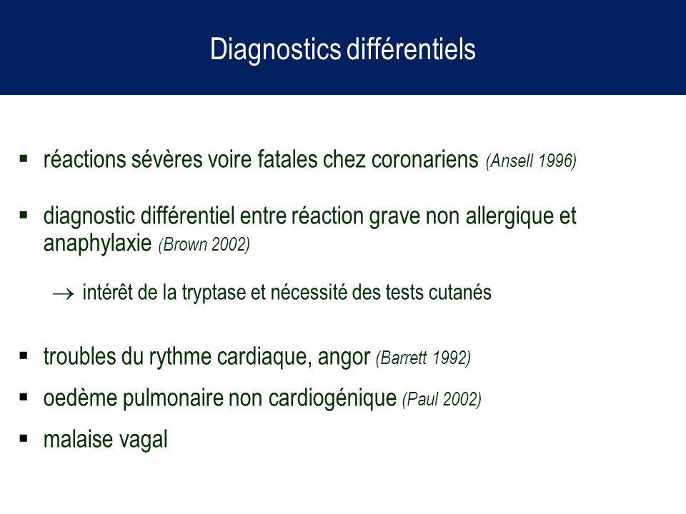 Diagnostics différentiels réactions sévères voire fatales chez coronariens (Ansell 1996) diagnostic différentiel entre réaction grave non allergique e