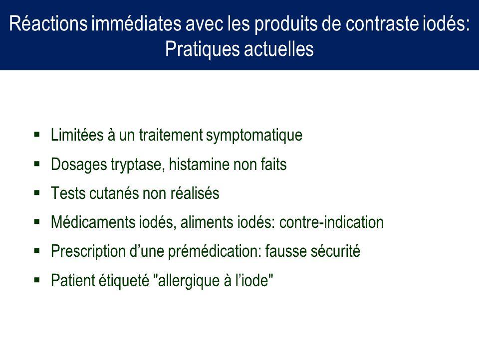Réactions immédiates avec les produits de contraste iodés: Pratiques actuelles Limitées à un traitement symptomatique Dosages tryptase, histamine non