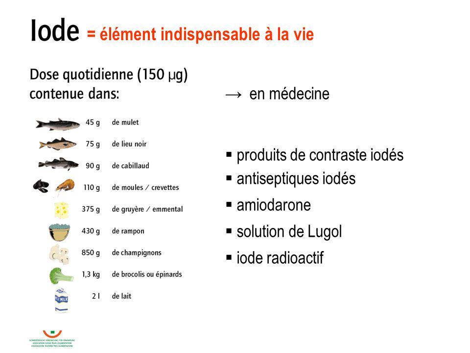 = élément indispensable à la vie en médecine produits de contraste iodés antiseptiques iodés amiodarone solution de Lugol iode radioactif