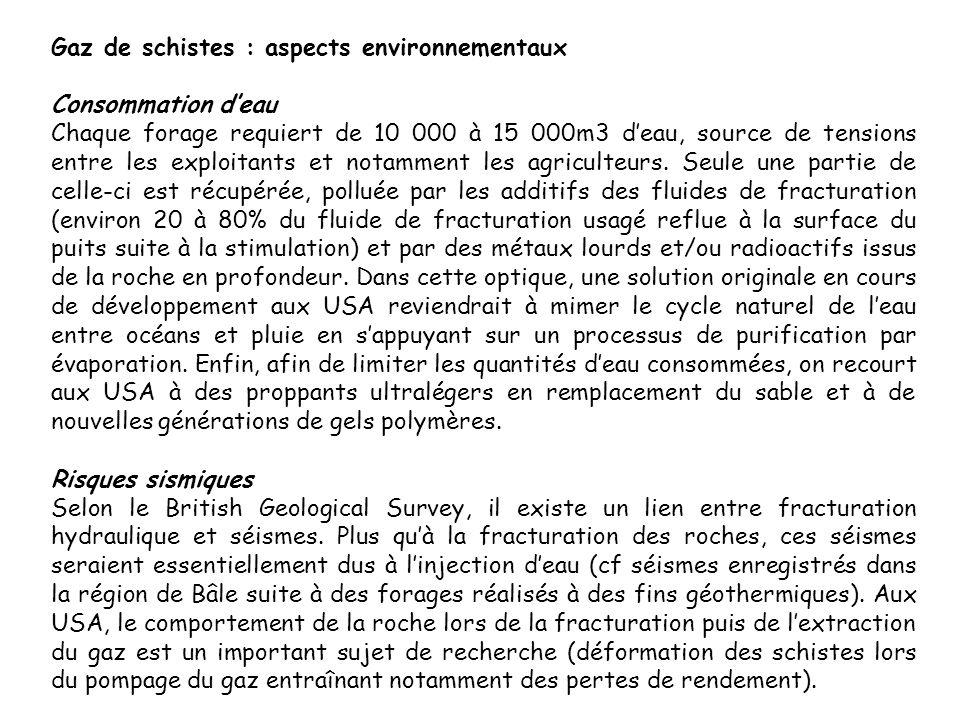 Gaz de schistes : aspects environnementaux Consommation deau Chaque forage requiert de 10 000 à 15 000m3 deau, source de tensions entre les exploitant