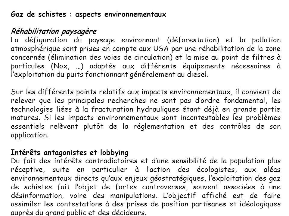 Gaz de schistes : aspects environnementaux Réhabilitation paysagère La défiguration du paysage environnant (déforestation) et la pollution atmosphériq