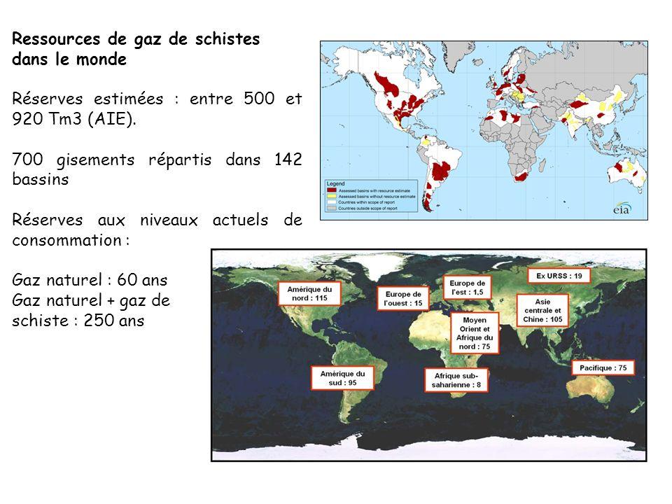 Ressources de gaz de schistes dans le monde Réserves estimées : entre 500 et 920 Tm3 (AIE). 700 gisements répartis dans 142 bassins Réserves aux nivea