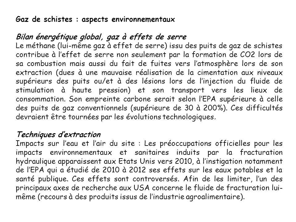 Gaz de schistes : aspects environnementaux Bilan énergétique global, gaz à effets de serre Le méthane (lui-même gaz à effet de serre) issu des puits d