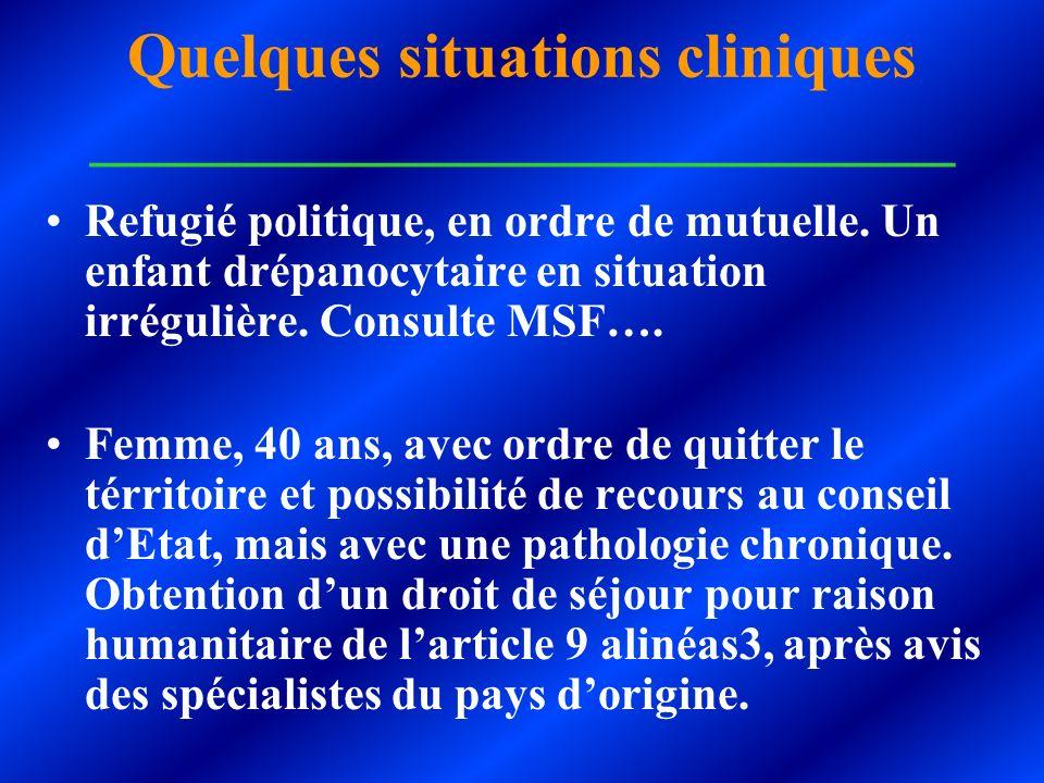 Quelques situations cliniques ___________________________ Refugié politique, en ordre de mutuelle. Un enfant drépanocytaire en situation irrégulière.