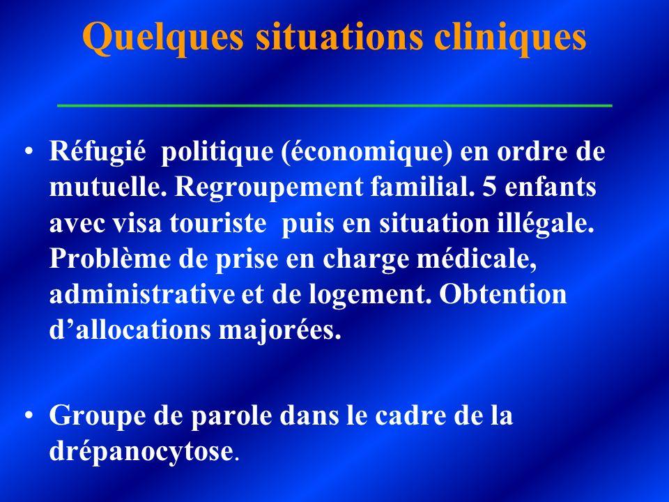 Quelques situations cliniques ___________________________ Réfugié politique (économique) en ordre de mutuelle. Regroupement familial. 5 enfants avec v