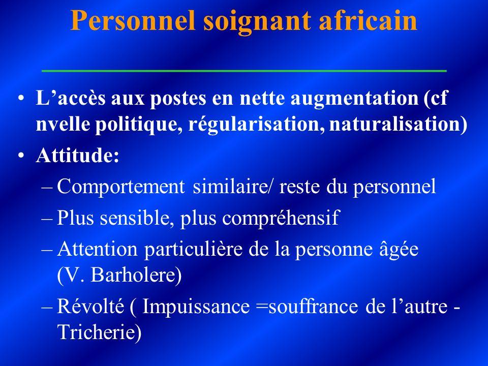 Personnel soignant africain ___________________________ Laccès aux postes en nette augmentation (cf nvelle politique, régularisation, naturalisation)