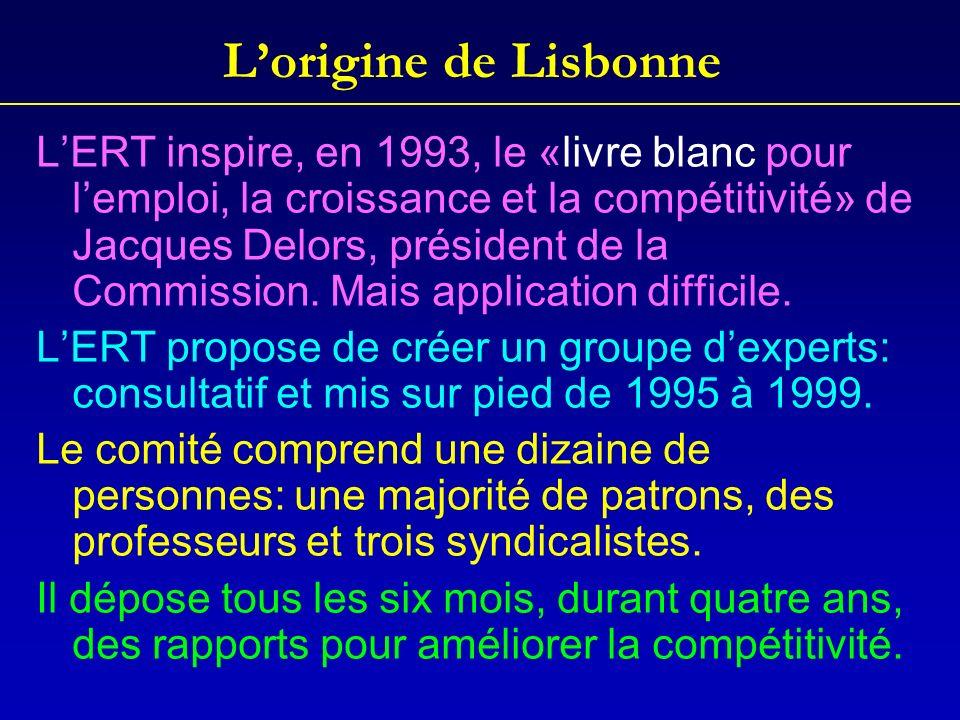 Lorigine de Lisbonne LERT inspire, en 1993, le «livre blanc pour lemploi, la croissance et la compétitivité» de Jacques Delors, président de la Commis