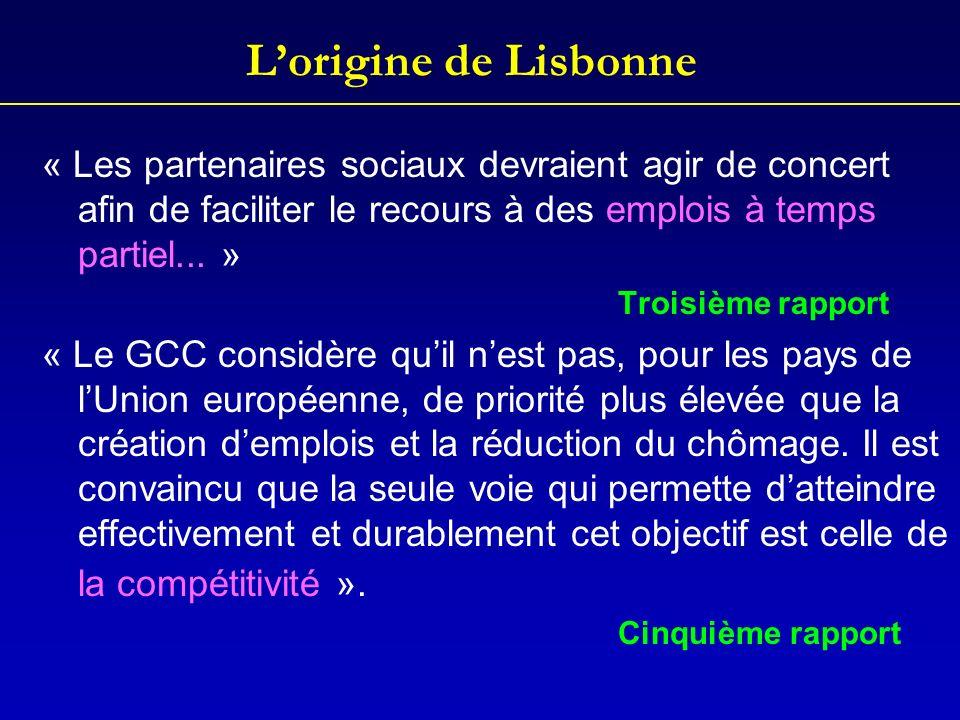 Lorigine de Lisbonne « Les partenaires sociaux devraient agir de concert afin de faciliter le recours à des emplois à temps partiel... » Troisième rap