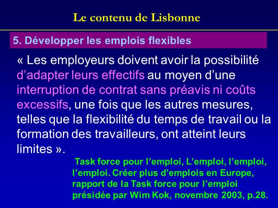 Le contenu de Lisbonne 5. Développer les emplois flexibles « Les employeurs doivent avoir la possibilité dadapter leurs effectifs au moyen dune interr