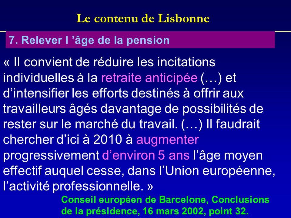 Le contenu de Lisbonne 7. Relever l âge de la pension « Il convient de réduire les incitations individuelles à la retraite anticipée (…) et dintensifi