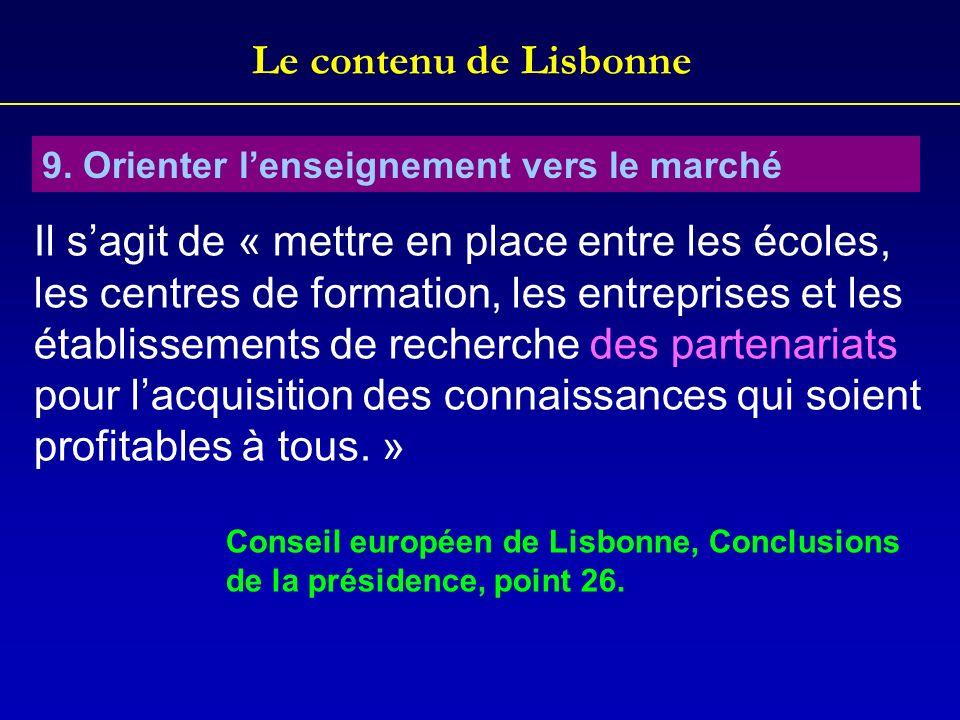 Le contenu de Lisbonne 9. Orienter lenseignement vers le marché Il sagit de « mettre en place entre les écoles, les centres de formation, les entrepri