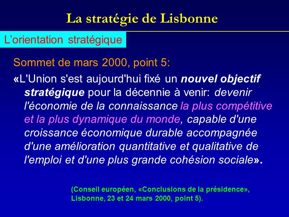 La stratégie de Lisbonne Sommet de mars 2000, point 5: «L'Union s'est aujourd'hui fixé un nouvel objectif stratégique pour la décennie à venir: deveni