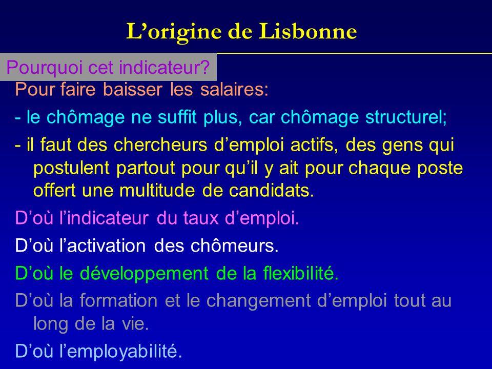 Lorigine de Lisbonne Pour faire baisser les salaires: - le chômage ne suffit plus, car chômage structurel; - il faut des chercheurs demploi actifs, de