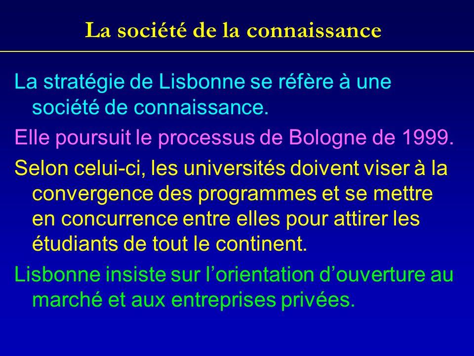 La société de la connaissance La stratégie de Lisbonne se réfère à une société de connaissance. Elle poursuit le processus de Bologne de 1999. Selon c