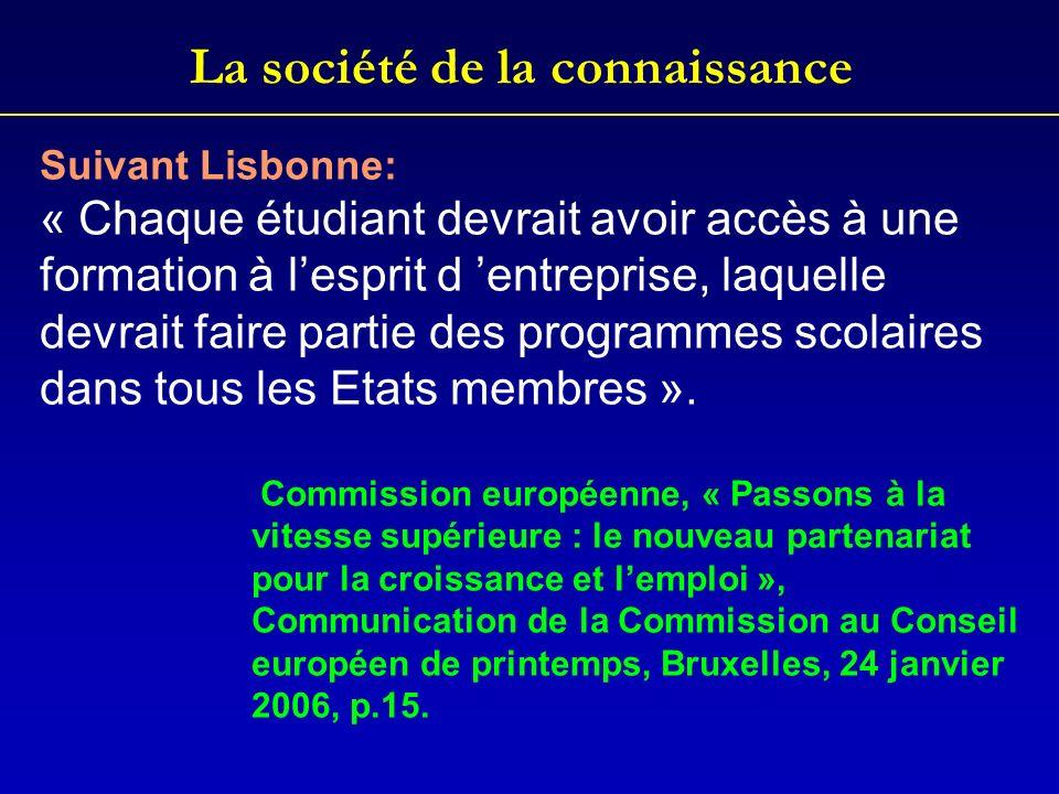 La société de la connaissance Suivant Lisbonne: « Chaque étudiant devrait avoir accès à une formation à lesprit d entreprise, laquelle devrait faire p
