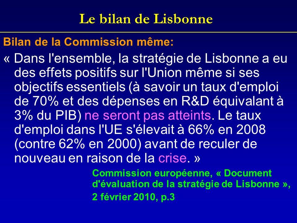 Le bilan de Lisbonne Bilan de la Commission même: « Dans l'ensemble, la stratégie de Lisbonne a eu des effets positifs sur l'Union même si ses objecti