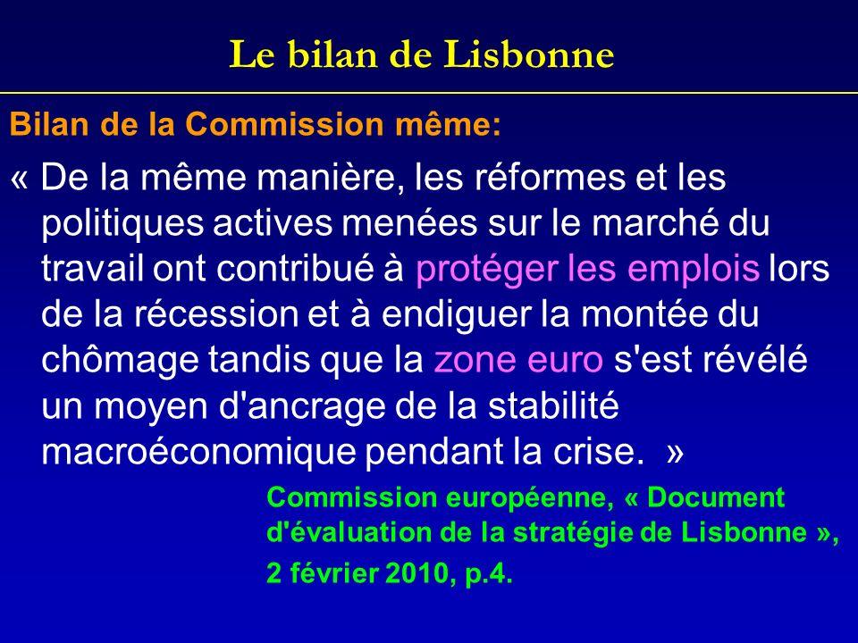Le bilan de Lisbonne Bilan de la Commission même: « De la même manière, les réformes et les politiques actives menées sur le marché du travail ont con