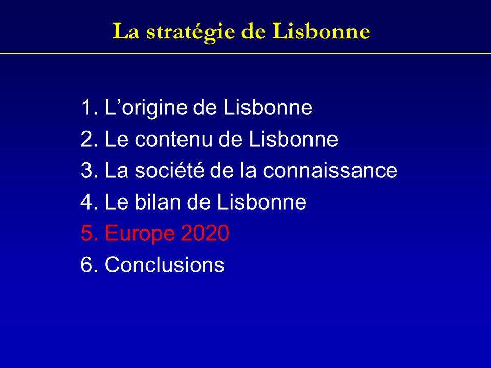 La stratégie de Lisbonne 1. Lorigine de Lisbonne 2. Le contenu de Lisbonne 3. La société de la connaissance 4. Le bilan de Lisbonne 5. Europe 2020 6.