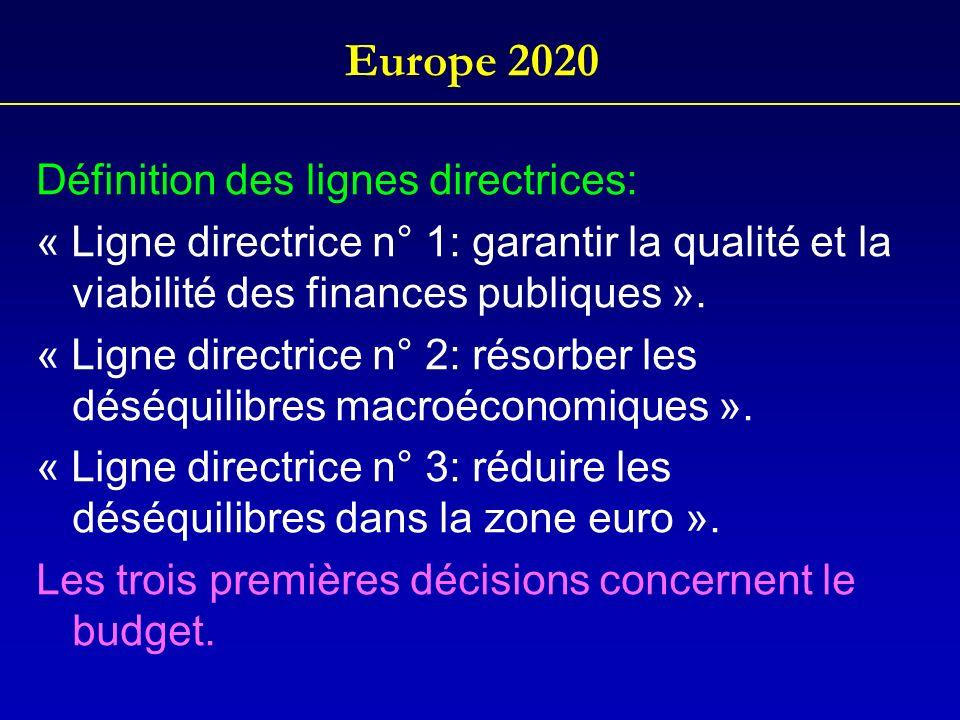 Europe 2020 Définition des lignes directrices: « Ligne directrice n° 1: garantir la qualité et la viabilité des finances publiques ». « Ligne directri