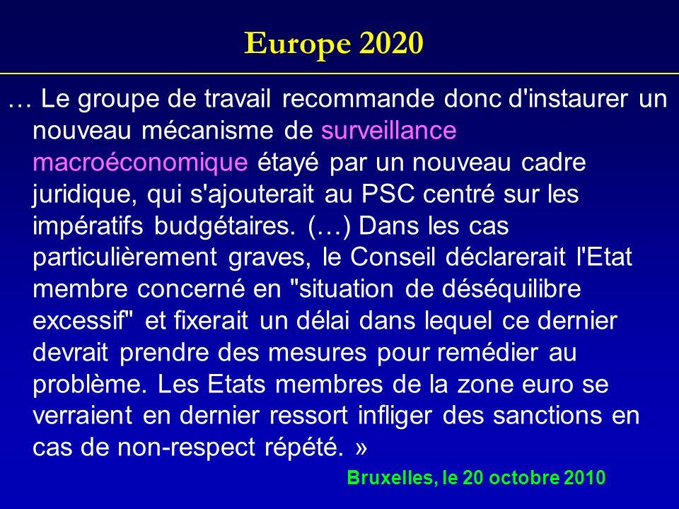 Europe 2020 … Le groupe de travail recommande donc d'instaurer un nouveau mécanisme de surveillance macroéconomique étayé par un nouveau cadre juridiq