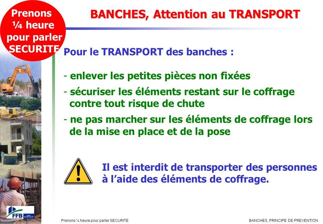 BANCHES, PRINCIPE DE PREVENTIONPrenons ¼ heure pour parler SECURITE BANCHES, Attention au TRANSPORT Prenons ¼ heure pour parler SECURITE Pour le TRANS