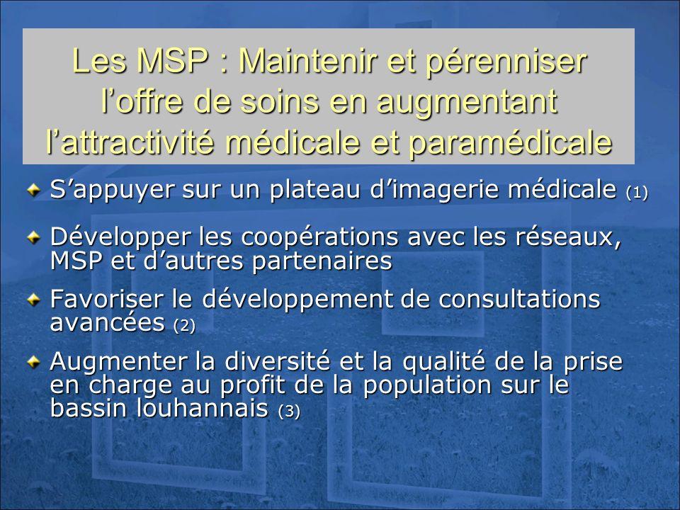 Les MSP : Maintenir et pérenniser loffre de soins en augmentant lattractivité médicale et paramédicale Sappuyer sur un plateau dimagerie médicale (1)
