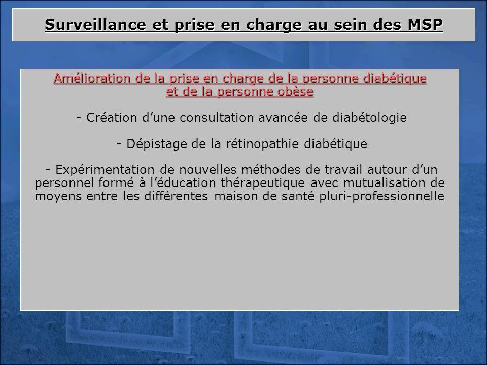 Amélioration de la prise en charge de la personne diabétique et de la personne obèse - Création dune consultation avancée de diabétologie - Dépistage