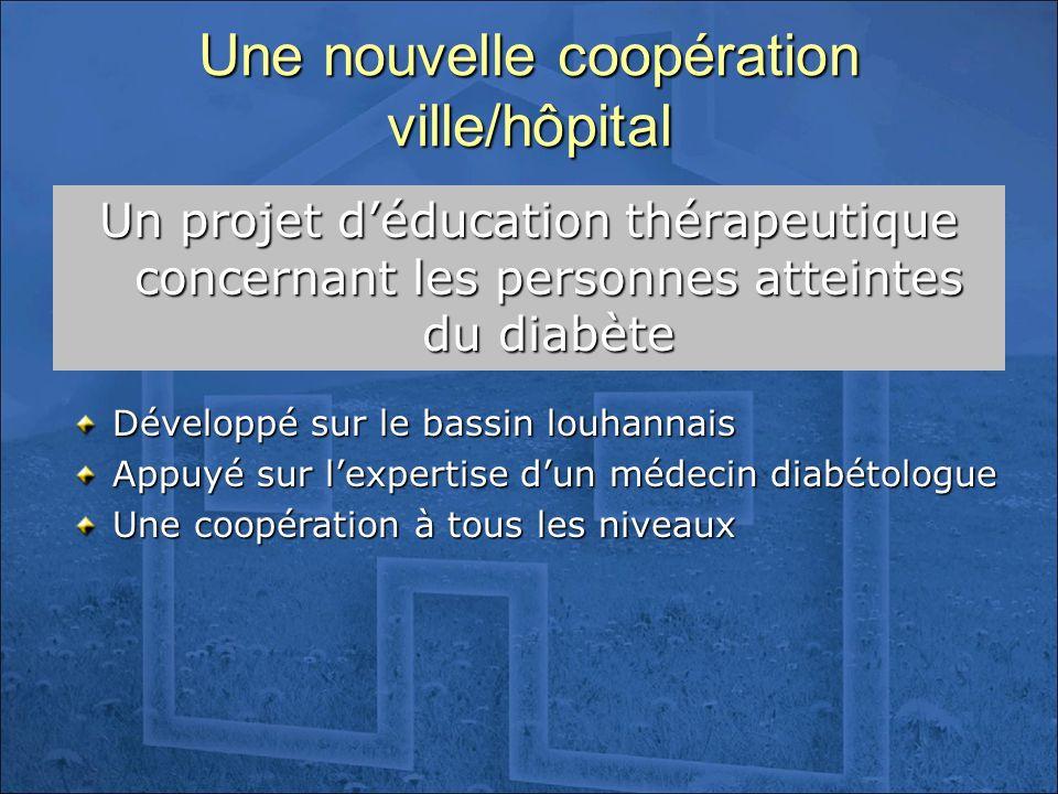 Une nouvelle coopération ville/hôpital Un projet déducation thérapeutique concernant les personnes atteintes du diabète Développé sur le bassin louhan