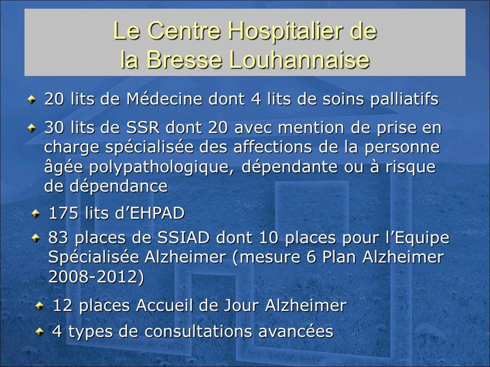Le Centre Hospitalier de la Bresse Louhannaise 20 lits de Médecine dont 4 lits de soins palliatifs 175 lits dEHPAD 30 lits de SSR dont 20 avec mention