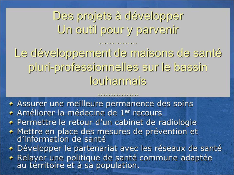 Des projets à développer Un outil pour y parvenir …………… Le développement de maisons de santé pluri-professionnelles sur le bassin louhannais ……………. As